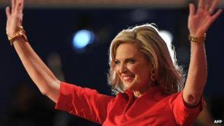 Ann Romney, wife of Republican presidential nominee Mitt Romney, at the Republican National Convention on 28 August 2012
