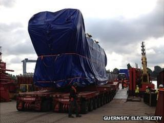 Guernsey Electricity generator being loaded onto cargo vessel Terra Marique in Holland
