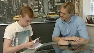 Sheridan Sidlow and his father Mark check GCSE English grade