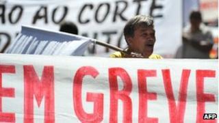 Civil servants on strike in Rio de Janeiro on 9 August, 2012