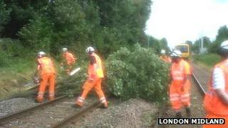 Tree being removed from the line, image by London Midland