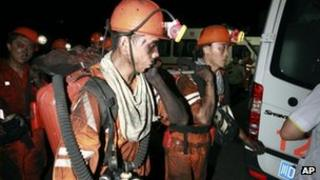 In this photo released by China's Xinhua News Agency, rescuers work at Xiaojiawan Coal Mine in Panzhihua City, southwest China's Sichuan Province, 30 August, 2012