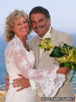 John Hirst (right) and wife Linda on their wedding day