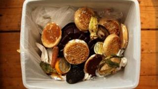 Food in rubbish bin