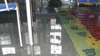 flooded classroom