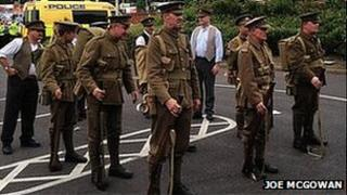 Campaigners marching in memory of Liverpool Pals