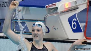 Bethany Firth in the pool after her gold medal win