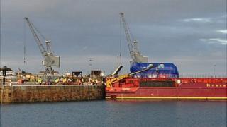Barge Terra Marique offloading Guernsey Electricity generator