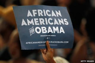 "Sign reading ""African Americans for Obama""."