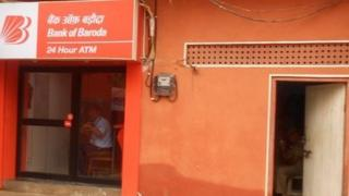 The Bank of Baroda cash machine inside a police station in Jaipur
