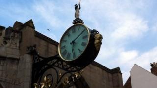 Restored clock at St Martin's York