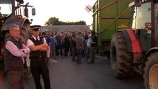 Protest at Robert Wiseman Dairies processing plant near Bridgwater, Somerset