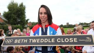 Beth Tweddle holding sign
