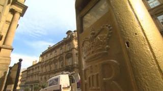 Gold postbox in Halifax