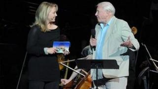Kirsty Young and Sir David Attenborough at the Desert Island Discs Prom. © BBC/Chris Christodoulou