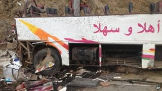 Wrecked bus lies in the ravine. 4 Sept 2012
