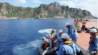 Japanese surveyors head to the disputed island chain in the East China Sea (2 September 2012)