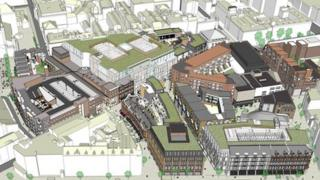 Aerial view of Royal Exchange plans