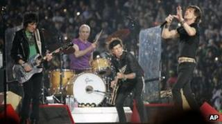 The Rolling Stones performing at the 2006 Superbowl