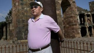 Chinese Defence Minister Gen Liang Guanglie at the Qutub Minar in Delhi on 5 September 2012