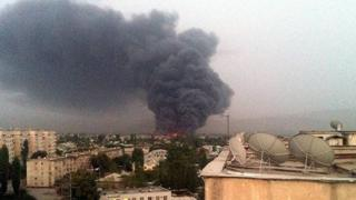 Fire at Kaarvaan market in Dushanbe