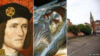 (l to r) Portrait of Richard III; tomb of Edward III; Greyfriars car park Leicester