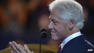 Former US President Bill Clinton at the podium in Charlotte, North Carolina 5 September 2012