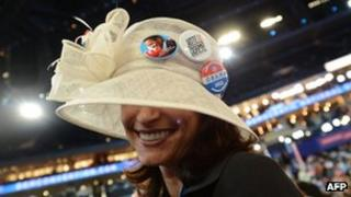 A delegate sports a hat in Charlotte