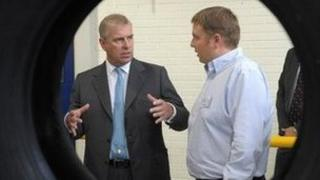 Prince Andrew at Michelin factory