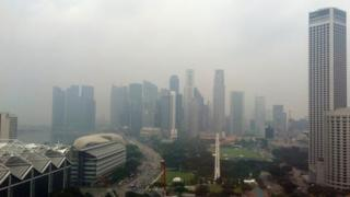 Haze blanketing Singapore's central business district on 6 September 2012