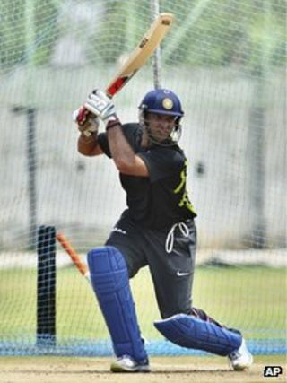 India's cricketer Yuvraj Singh bats in the nets during a training session ahead of their first Twenty20 cricket match against New Zealand in Visakhapatman, India, Friday, Sept. 7, 2012