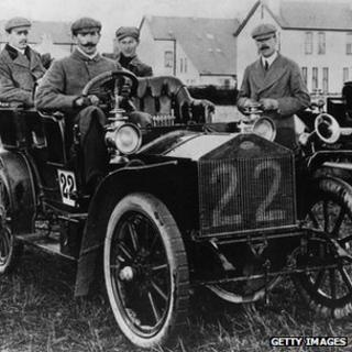 1905: A 1905 20-horsepower Rolls Royce, the runner-up in a 1905 TT (Tourist Trophy) race. Seated in the back seat is Charles Stewart Rolls, who co-founded the company with Henry Royce the previous year. (Photo by Hulton Archive/Getty Images)
