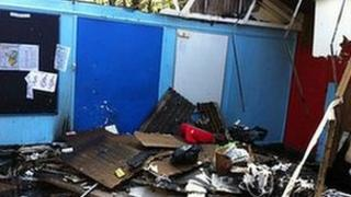 The badly-damaged scout hut at Conwy