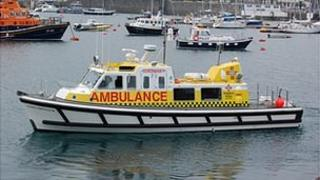 Guernsey marine ambulance Flying Christine III in St Peter Port Harbour