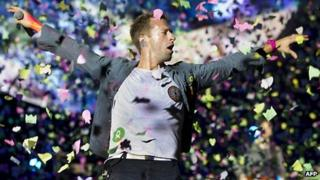 Chris Martin of Coldplay performing in the Hague in September