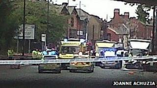 Emergency services at the scene of the collision in Longsight