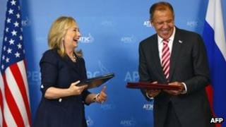 US Secretary of State Hillary Clinton and Russian Foreign Minister Sergei Lavrov at the Apec summit 8/9/12