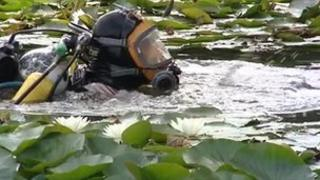 Divers began searching the lakes at Clive Vale Angling Club in Hastings on Monday