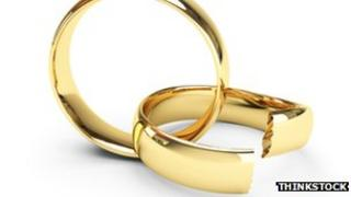 Interlocking wedding rings, one broken