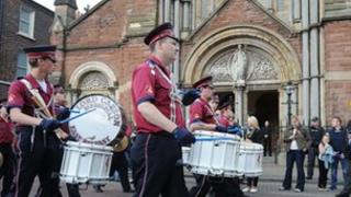 Band outside St Patricks Catholic church
