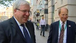 Patrick McLoughlin with Philip Rutnam arriving at Department of Transport