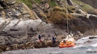 Stranded yacht courtesy IOM RNLI