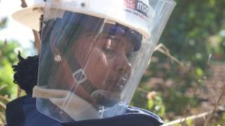 Female mine clearer in Sri Lanka
