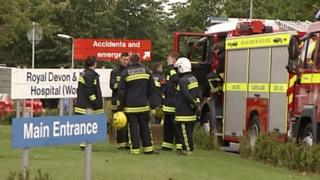 Emergency services outside the Royal Devon and Exeter Hospital