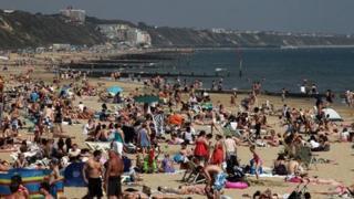 Bournemouth beach goers
