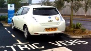 Ecar at charging point
