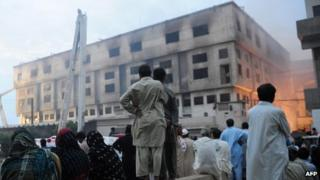 Garment factory fire in Karachi