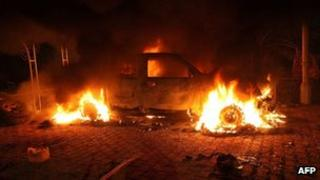 Vehicle on fire at the US embassy in Benghazi, Libya (11 Sept 2012)