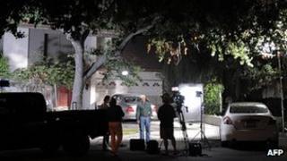 Media crews outside Nakoula Basseley Nakoula's home in Cerritos, California