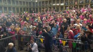 Crowds at Piece Hall in Halifax